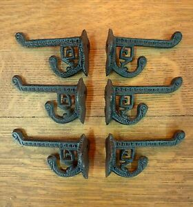 6 BROWN ANTIQUE STYLE CAST IRON EASTLAKE STYLE VICTORIAN COAT HOOKS hardware art