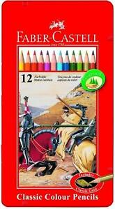 Faber Castell Classic 12 colour pencils in metal tin artist high quality