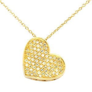 14K YELLOW GOLD NATURAL PAVE DIAMOND FLOATING HEART PENDANT CHARM NECKLACE