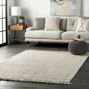 nuLOOM Hand Made Chunky Loop Natural Jute Area Rug in Off White