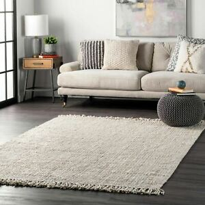 nuLOOM Hand Made Chunky Loop Natural Jute Area Rug in Off White $77.99