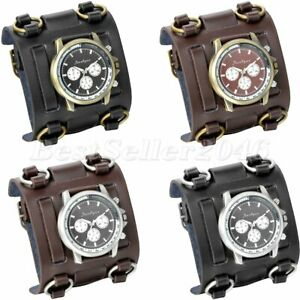 Mens Military Army Style Wide Leather Band Sports Big Face Quartz Wrist Watch $14.24