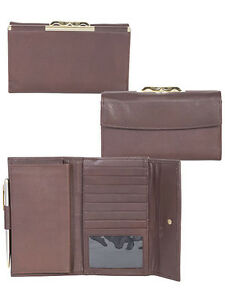 NEW SCULLY WOMEN'S NAPPA LEATHER TRIFOLD CHECKBOOK CLUTCH WALLET WITH PEN BROWN