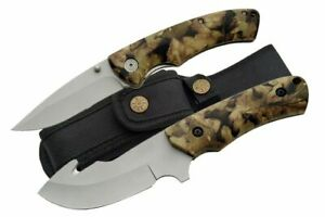 NEW Camouflage Gut Hook Fixed-Blade and Folding Hunting Skinning Knife w Sheath