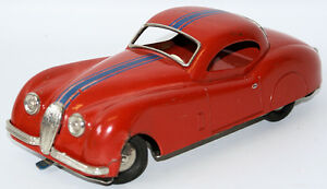tin litho battery operated red 1958 jaguar for