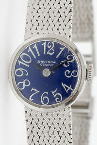 Vintage $6000 UNIVERSAL Ladies 14k White Gold Watch EXAGGERATED BLUE NUMERALS