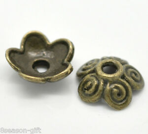 Gift Wholesale Bronze Tone Flower Bead Caps Findings 10x4mm