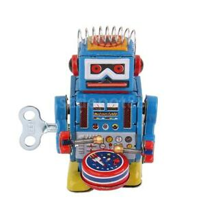retro wind up walking drumming robot drummer