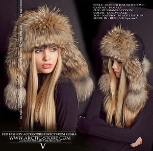 Bomber fur hat - Russian raccoon - Leather top variations - Made in Russia