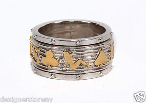 Stephen Webster No Regrets Spinning Ring Gold Plated Sterling Silver size 11
