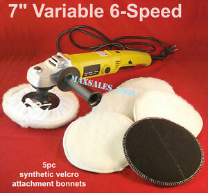 7quot; VARIABLE 6 SPEED ELECTRIC CAR POLISHER BUFFER amp; SANDER W 5pc Bonnets