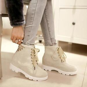 School girl Womens rivet lace up ankle boots round toe work outdoor shoes size