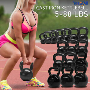 Yes4All Cast Iron Kettlebell Weights for Body Workout Available: 5 - 80 lbs