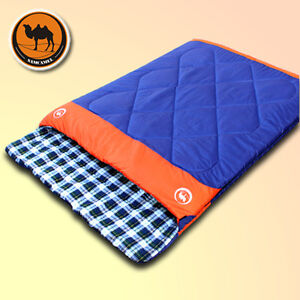 Adult Outdoor Camping Gear Warm Double Envelope Cotton Sleeping Bag Mats 8-23℃
