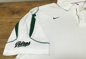 Mens Nike Padres White Knit Dry Fit Green Weights XXL 2XL Collar Shirt San Diego