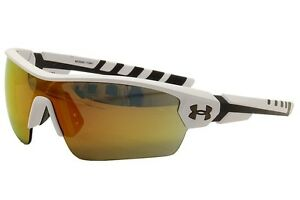 Under Armour UA Rival Satin WhiteCharcoal GreyGunmetal Sport Shield Sunglasses