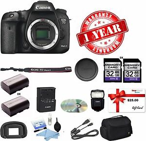 Canon EOS 7D II Digital SLR Camera +FLASH+64GB MC+DSLR BAG+CK+EXTRA BATTERY KIT