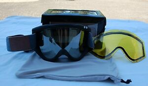 2014 NIB ASHBURY KALEIDOSCOPE SNOW GOGGLES $110 black blue jeanleather patch