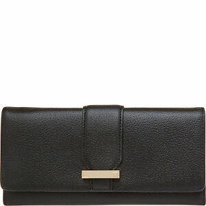 NEW LODIS WOMEN'S LEATHER STEPHANIE ALIX RFID PROTECTED TRIFOLD WALLET BLACK