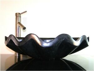 Shell Basin Vessel Sink in Black Marble for Bathroom Counter Top