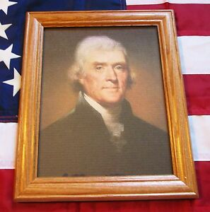 Framed Painting Portrait of Thomas Jefferson on Canvas Rembrandt Peale 1800 $34.99