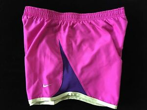 NWT GIRLS  YOUTH MEDIUM NIKE DRI FIT TEMPO RUNNING SHORTS FUSCHIAPURPLELIME