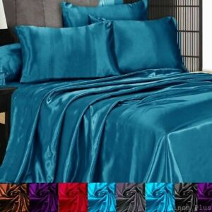 3 Pc Satin Silky Sheet Set Queen King Size Fitted Pillow Cases 500TC 10 Colors