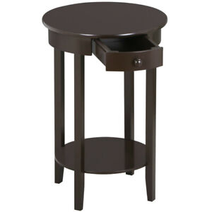 Round Accent Table Sofa Bed Chair Side Nightstand End Stand w/ Shelf Drawer Tall