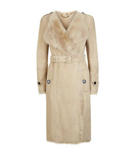 BURBERRY Shearling Coat Belted Trench Jacket BNWT UK 12 IT 44 US 10