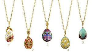 SET OF 5 Sterling Silver Gold Plated Egg Pendants Cross Enameled Chains Gift WOW