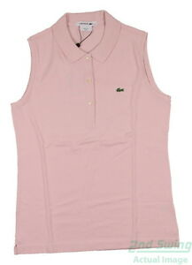 New Womens Lacoste Golf Pique Stretch Sleeveless Polo Large L Dusty Rose