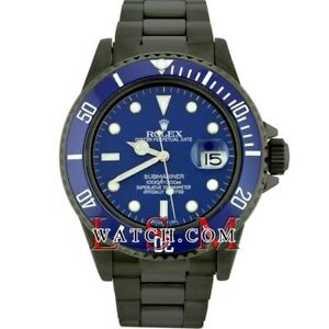 Rolex Men's Steel PVD-DLC Blue SUBMARINER 16610  Oyster Sports Watch - Used