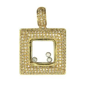 14K YELLOW GOLD MICRO PAVE FLOATING DIAMOND SQUARE PENDANT NECKLACE
