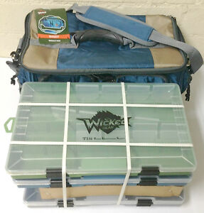 Soft Sided Fishing Gear Angler Tackle Bag with 3-3700 Utility Storage Boxes Tray
