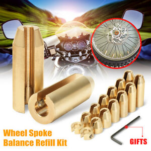 14 Pack Motorcycle Reusable Brass Wheel Spoke Balance Weights Refill Kits