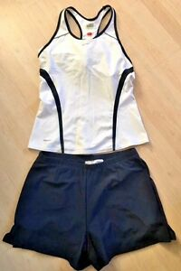 NIKE Fit Dry OUTFIT White Tank Top w Navy Blue Shorts size M Tennis Golf Run EUC