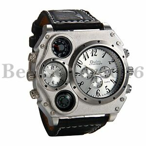 Mens Military Large Dial Black Leather Band Luxury Sport Dual Time Wrist Watch $16.99