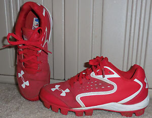 Youth Boys Under Armour Red Baseball Shoes Cleats Size 2 Y