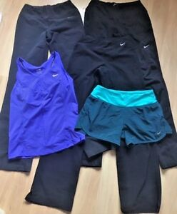 Lot of 5 NIKE FIT DRY Workout Clothes Pants Tank Shorts XS Black Green Blue EUC