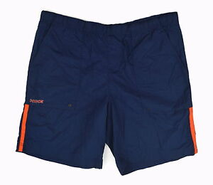 NIKE Mens Navy Blue & Orange 100% Packable Nylon Mesh Lined Gym Shorts ~ Sz L