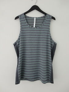 NWT LULULEMON DBLV Grey Green Stripe Sleeveless T.H.E. Tank Top Shirt Men's XL
