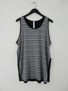 NWT LULULEMON HMDGBLK Grey Black Sleeveless Mesh Mash Tank Top Shirt Men's XL