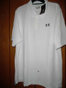 NEW SOLID WHITE UNDER ARMOUR POLO GOLF SHIRT LOOSE HEAT GEAR 2XL XXL 2X