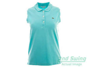 New Womens Lacoste Stretch Pique Sleeveless Polo Small S Green MSRP $100 PF5816
