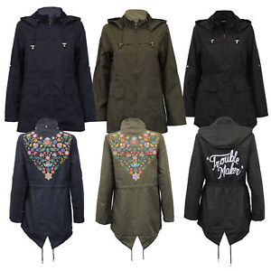 Ladies Kagool Jacket Brave Soul Womens Cagoule Hooded Tattoo Print Fish Tail New