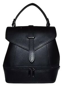 NEW FIRENZE ITALIA WOMEN'S LEATHER SMALL CONVERTIBLE SATCHEL BACKPACK BLACK