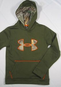 UNDER ARMOUR ~ Cold Gear Real Tree Camo Big Logo Hoodie ~ Youth Medium - Green