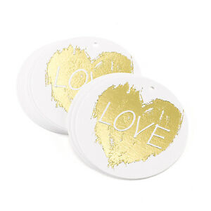 Brush Of Love White with Gold Foil Wedding Favor Tags 25 pk