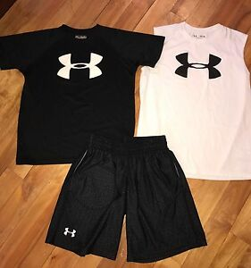 UNDER ARMOUR BOYS YMD MED 10-12 BLACK SHORTS TANK TOP SHIRT HEAT GEAR 3pc SET