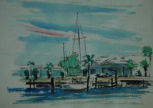 Original Vintage Watercolor and Ink of A Tropical Harbor Scene Illegibly Signed $75.00